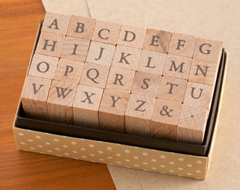 Small but not Mini Japanese Garamond Capital Letters Stamp Set - for card making, scrapbooking, Journaling, invitations