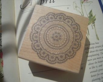 On Sale-Beautiful Japanese Wooden Rubber Stamp - Doily Lace for invitation, card making, scrapbooking