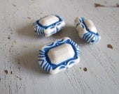 Vintage Lucite Beads off White with Blue Detail