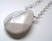 Ocean Jasper Stone Pendant Necklace with Sterling Silver Chain - Alabaster White Faceted Teardrop