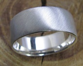 Mens Silver Ring, Brush Finished, Wide Wedding Band, Low Profile Mans Ring