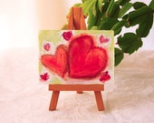 ACEO Small Painting Art Painting Hearts Red Pink Green titled Love Begets Love