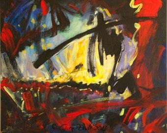 Large Abstract Painting Dark Art Black Red Painting Original Bold Black Red Yellow 20 x 24 artist Gwen Duda