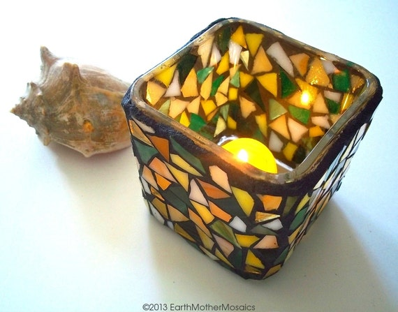 Mosaic Candle Holder: Stained Glass Mosaic, Yellow, Green, White