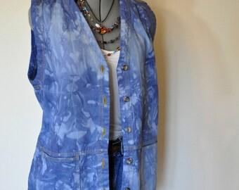 "Blue Medium Denim VEST - Royal Navy Blue Two Tone Hand Dyed Upcycled Repurposed Urban CabinCreek Denim Long Vest - Womens Medium (42"" chest)"