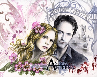 """Different Worlds - True Blood Traditional Art Watercolor Painting - Fine Art Print 15x20cm (5.9""""x7.8"""") - Hand Signed"""