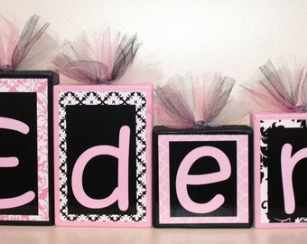 Eden Collection - Name Blocks- Black, Light Pink and White -