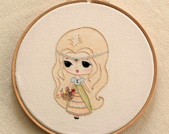 Embroidered Princess pdf Embroidery Pattern - Instant Download