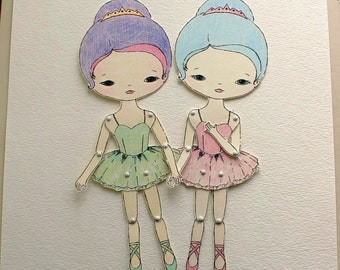 Articulated Paper Doll Prints - Iris and Skye - Instant Download