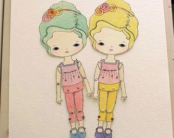 Articulated Paper Doll Prints - Juniper and Clover - Instant Download