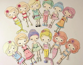 Collection of Five Colour-Your-Own Paper Dolls