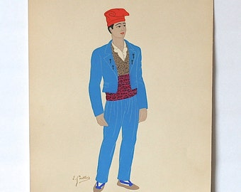 Pochoir Lithograph By Emile Gallois 1939 Catalone Man's Costume