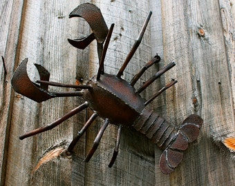 Metal Sculpture Wall Art Lobster