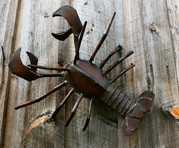 Large Lobster Wall Decor : Metal sculpture wall art lobster ocean decor large by