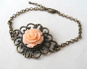 Peach Rose Bracelet in Filigree Brass, Peach Bracelet, Victorian Bracelet, Flower Bracelet
