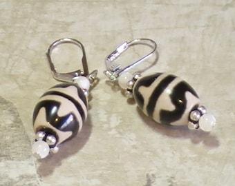 Black & White New dZi Bead Dangles