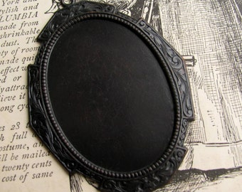 Extra LARGE 46x33mm oval setting, attached loop ring, oversize, dark antiqued brass frame, aged black patina, oval frame