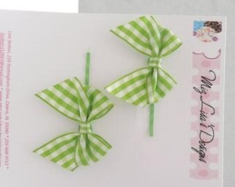 nhp-Green Gingham Bow Hair Pins
