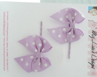 nhp-Purple and White Polka Dot Bow Hair Pins