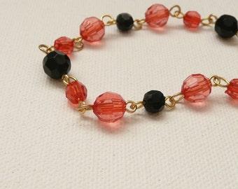 Tangerine, Black and Gold Link Bracelet