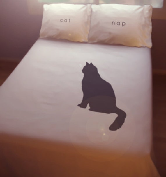 Black Cat Nap Duvet Cover Sheet Set Bedding Queen King Twin