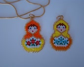 Beaded Matryoshka Doll Pendant