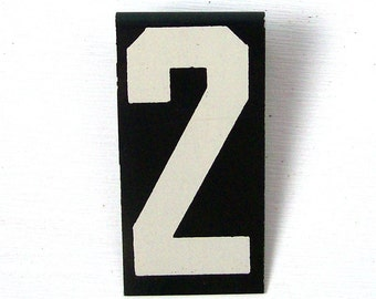 vintage number 2 two metal sign personalized enamel initial black and white small hanging decor industrial style mid century modern retro