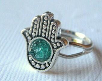 Hamsa Ring, Small Hamsa Ring, Silver Hamsa Ring, Aquamarine Hamsa Ring, Hand Ring, Hamsa Jewelry