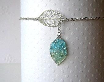 Lariat Leaf Ankle Bracelet, Lariat Anklet , Stained Glass Anklet, Blue Leaf Anklet, Anklet