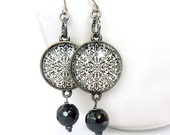 Toile Dangle Earrings - Black & White - Hematite - Retro Earrings - Bohemian Jewelry