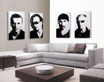 U2 Band Original Paintings, Vertigo, Bono, The Edge, Larry Mullen Jnr, Adam Clayton