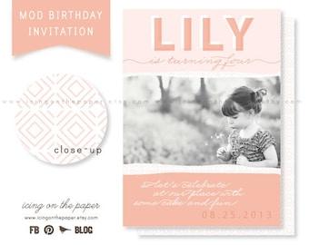 Modern Birthday Party Invitations - Digital or Printed