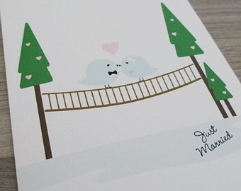 Wedding Card - Love Birds Kissing on Just Married Bridge. Eco Friendly