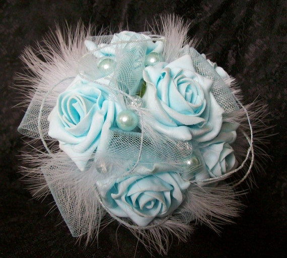 Small Pale Tiffany Blue Rose Pearl & Feather Vintage Style Bridal Posy Wedding Bouquet Prom