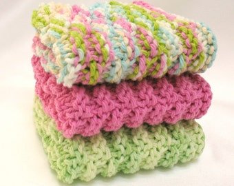 Knit Dishcloths, Cotton Washcloth, Knitted Facial Spa Wash Cloth, Pink and Green, Set of 3