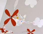 Baby Mobile, Airplanes in Orange with Windowpane Pattern