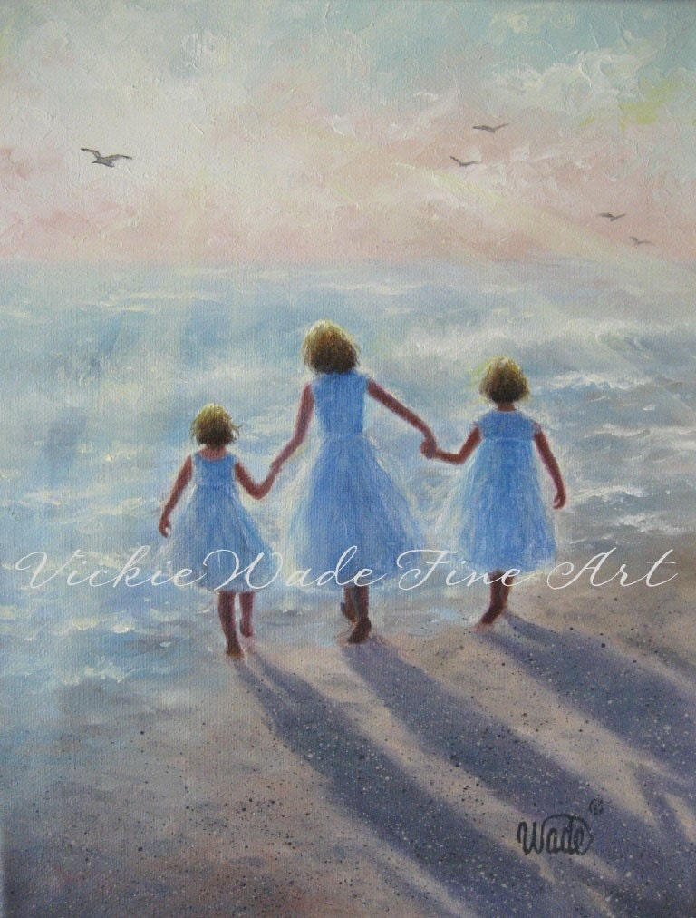 Three Beach Girls Art Print Three Sisters On Beach Walking