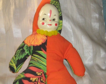Vintage colorful cloth clown doll