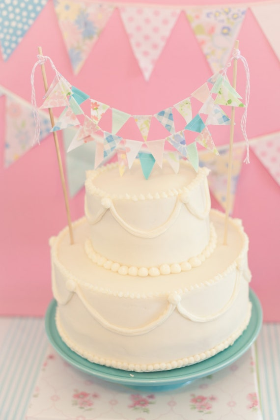 Chalky Pink And Blue Pastel Fabric Bunting Cake Topper