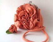 Flower purse Felted purse handbag fanny pack women bag crossbody bag flower Orange coral rose flower summer bag by Galafilc