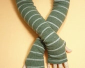 Long Upcycled Fingerless Gloves, Wool Sleeves, Green Grey Soft Warm Women Armwarmers, recycled Knit Sleeves, Boho Style, Winter