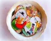Vintage Children's Circle Confetti / 25 Pieces / Junk Journal / Daily Planner / Table Confetti