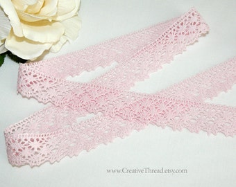 "Hand Dyed Cotton Lace - Bubblegum Pink - French Cluny Lace Edging - 1"" Wide - No. 225-BGP"