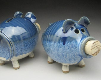 Ceramic Piggy Bank  in Blue and White - Made to Order