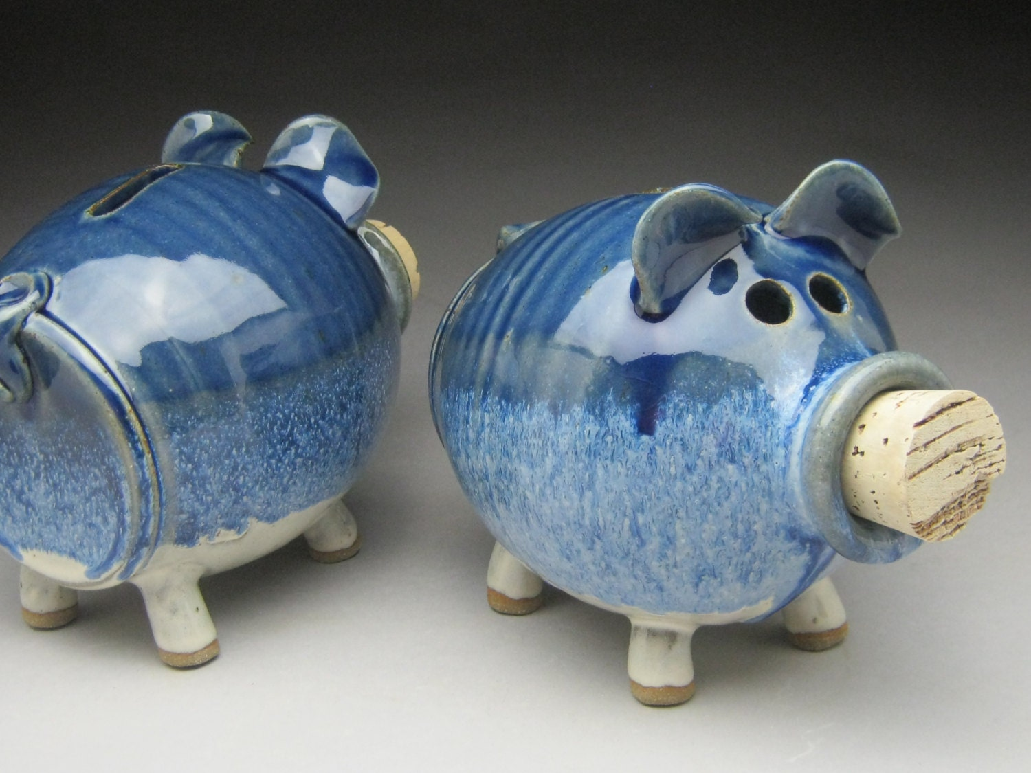 Ceramic Piggy Bank In Blue And White Made To Order