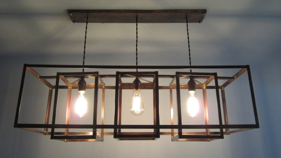 Items Similar To Modern Geometric Exposed Bulb And Copper Chandelier Long Rectangular Box