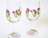 "Bridesmaid Wine Glasses - Mix and Match ""Bouquet"" of Assorted Colors, You Choose - Free Personalizing, Set of 8"