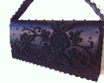 Vintage Satin Formal Purse / Clutch with Stunning Beading