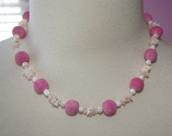 Pink Necklace, Lava Beads, Sea Shell Chips,  Vintage 1970's 1980's