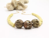Yellow Snake Necklace- vintage African tribal beads, brass